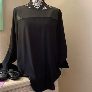 Beautiful Ann Taylor leather accent blouse